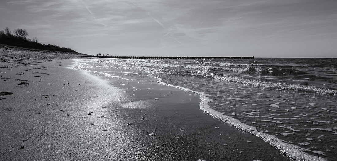 By the sea, in b&w